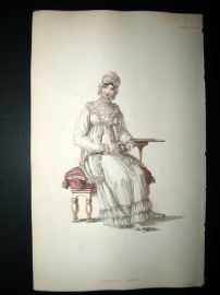 Ackermann 1814 Hand Col Regency Fashion Print. Morning Dress 14-22